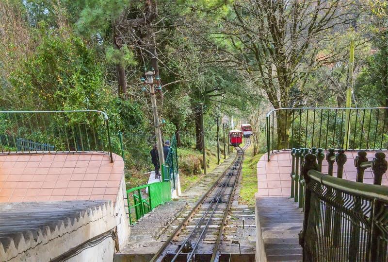 圣塞瓦斯蒂安缆索铁路的轨道,西班牙 库存图片