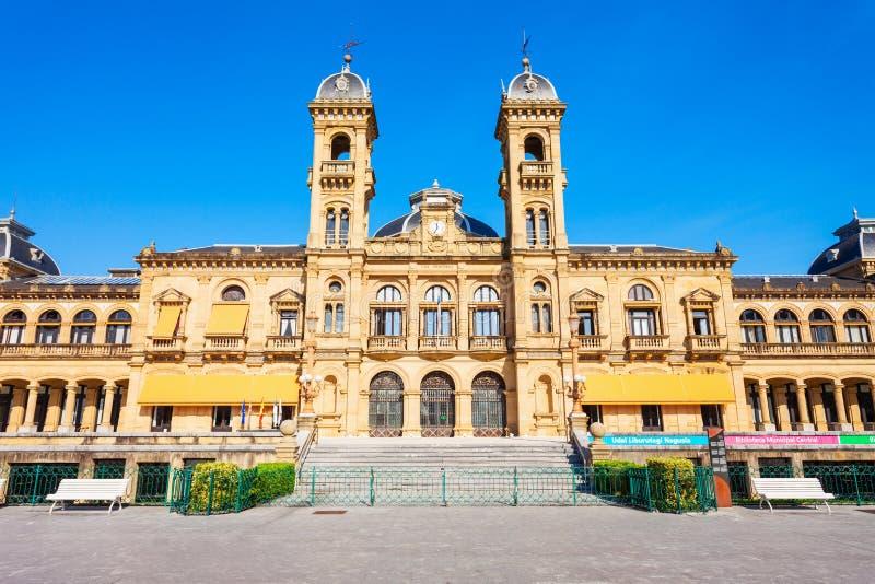 圣塞瓦斯蒂安香港大会堂,西班牙 库存图片
