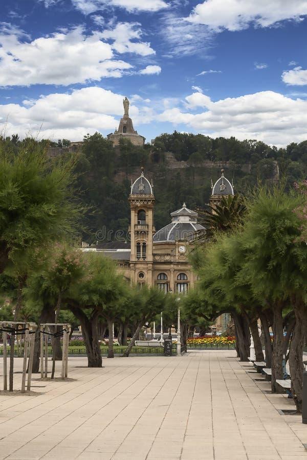 圣塞瓦斯蒂安,西班牙市政厅的看法  库存图片