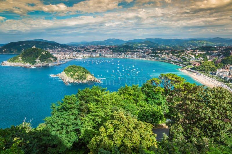 圣塞瓦斯蒂安Donostia西班牙全景鸟瞰图  免版税库存图片