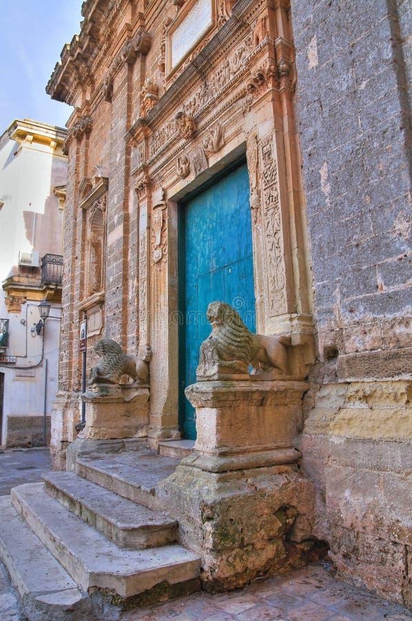 圣塞巴斯蒂亚诺教会。加拉托内。普利亚。意大利。 免版税库存照片