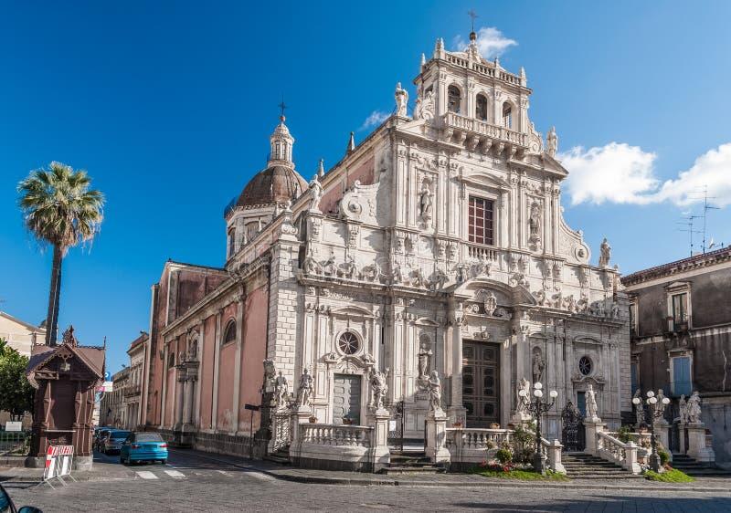 圣塞巴斯蒂亚诺巴洛克式的教会在阿奇雷亚莱西西里岛,意大利 库存图片