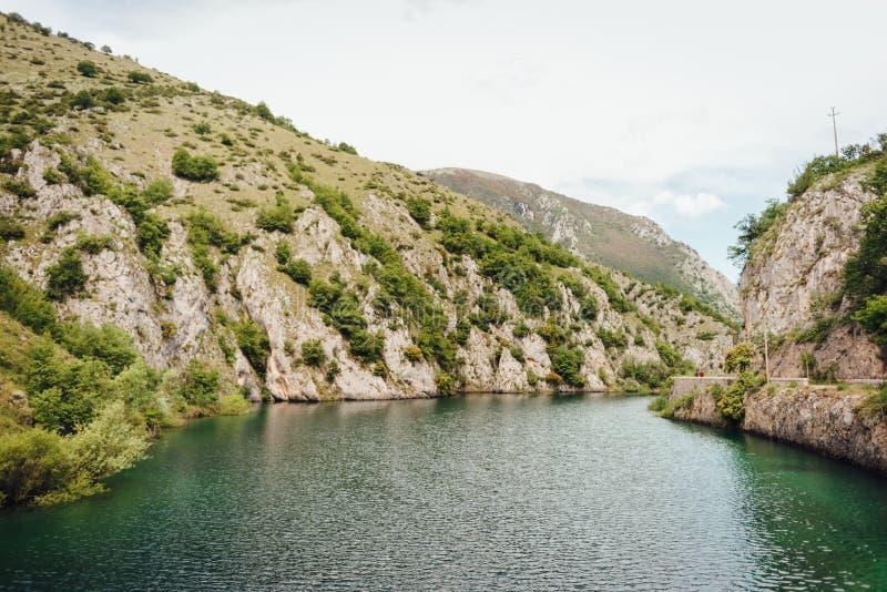 圣多梅尼科,阿布鲁佐,意大利湖  库存照片