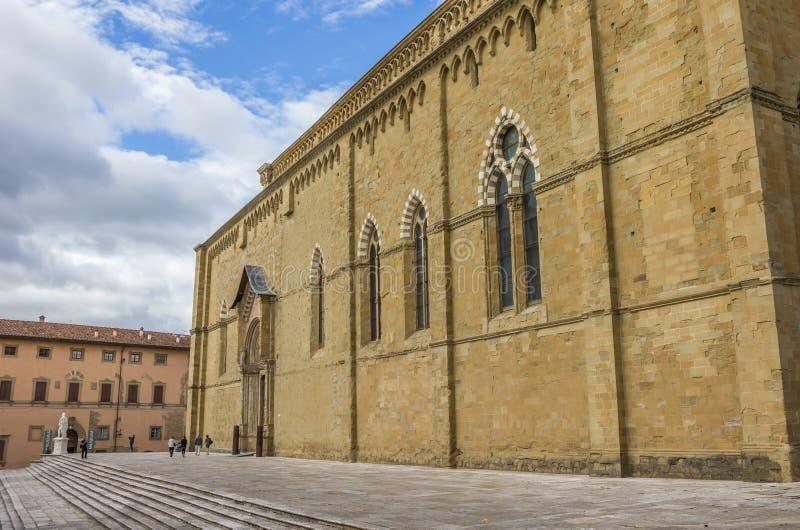 圣多纳托大教堂在阿雷佐的历史中心 免版税图库摄影