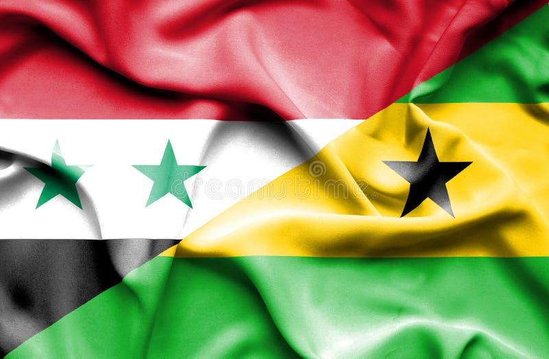圣多美和普林西比和叙利亚的挥动的旗子 皇族释放例证