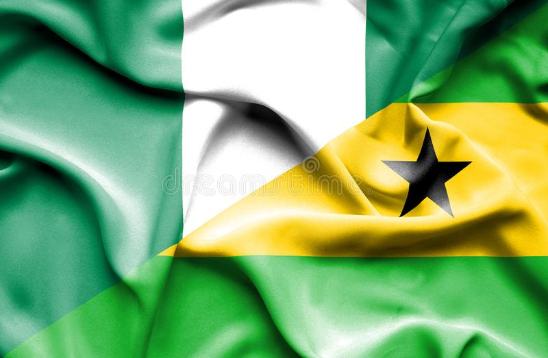 圣多美和普林西比和尼日利亚的挥动的旗子 皇族释放例证