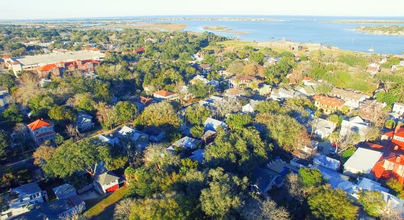 圣奥斯丁地平线,佛罗里达鸟瞰图  免版税库存照片
