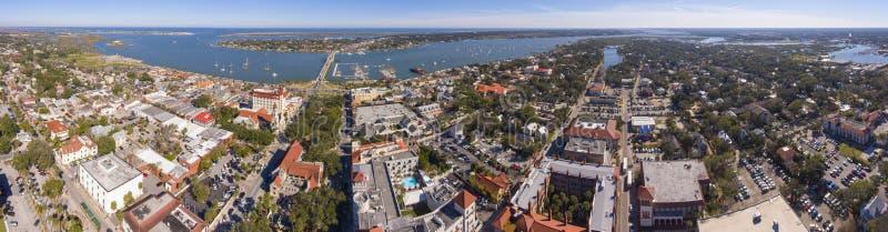 圣奥斯丁市鸟瞰图,佛罗里达,美国 免版税库存照片