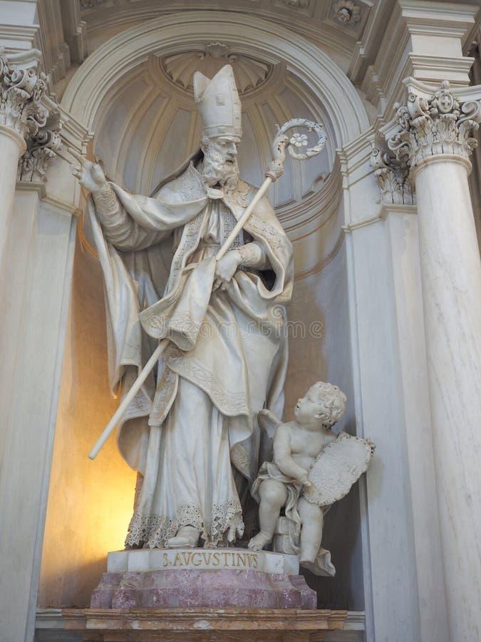 圣奥斯丁雕象在Venaria 库存照片