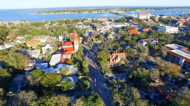 圣奥斯丁,佛罗里达 在黄昏的鸟瞰图 库存照片