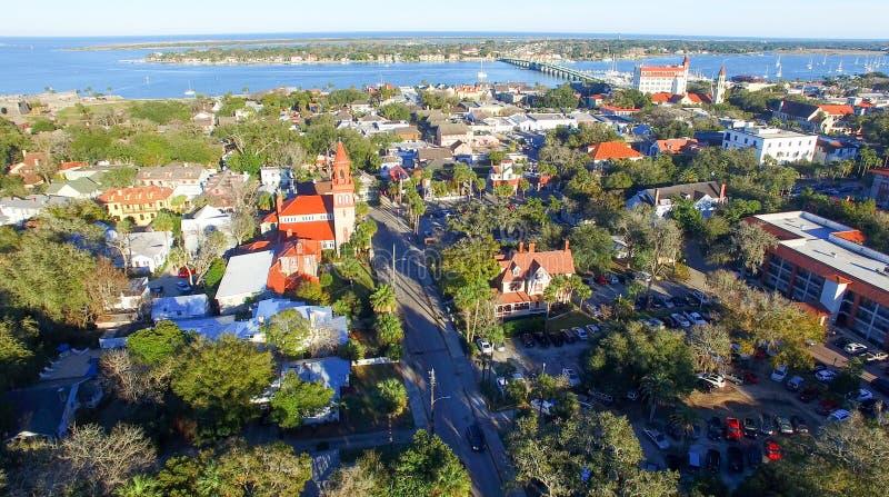 圣奥斯丁,佛罗里达 在黄昏的鸟瞰图 免版税图库摄影