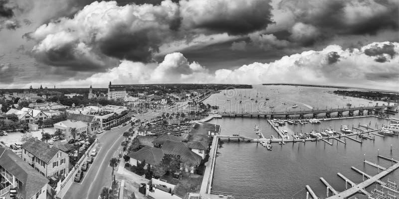 圣奥斯丁,佛罗里达-美国全景鸟瞰图日落的 免版税库存照片