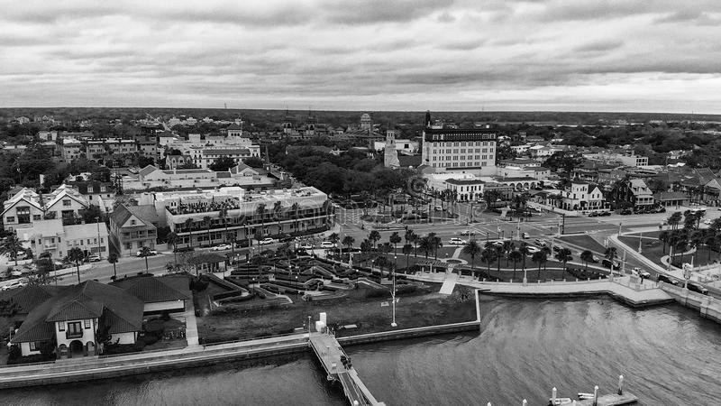 圣奥斯丁,佛罗里达-美国全景鸟瞰图日落的 免版税图库摄影