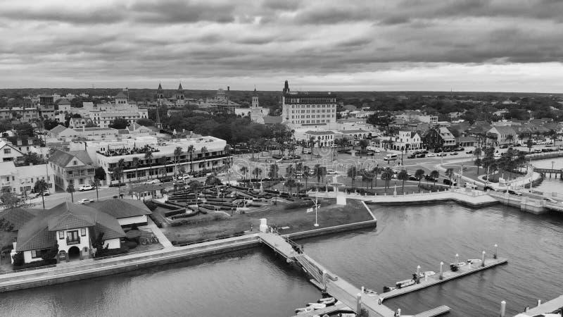 圣奥斯丁,佛罗里达-美国全景鸟瞰图日落的 图库摄影