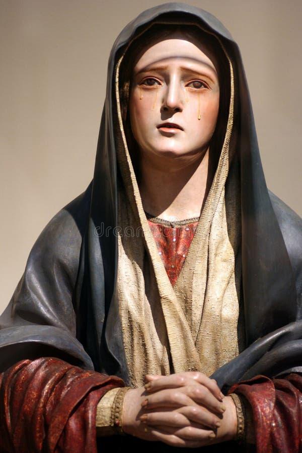 圣女玛丽亚雕象 库存照片