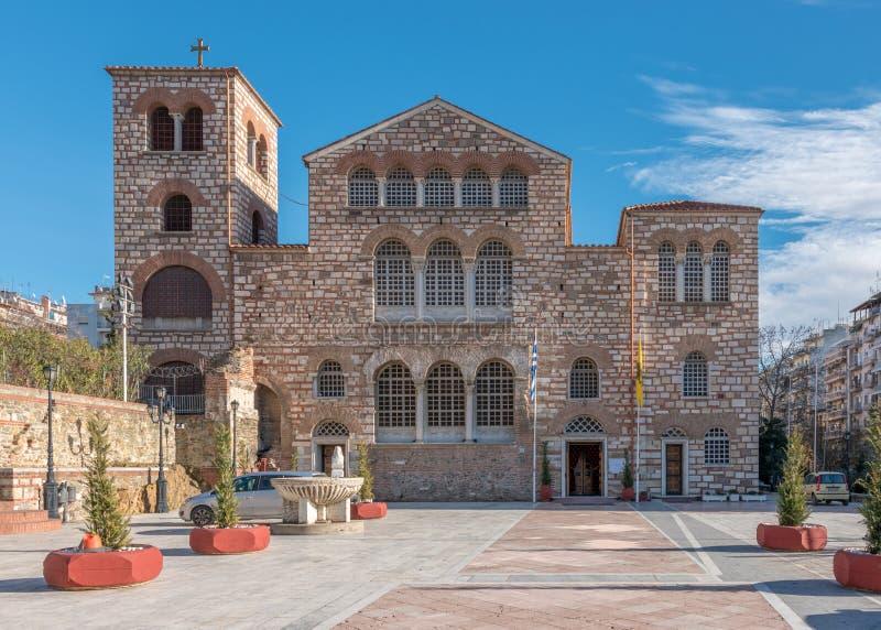 圣季米特里奥斯教会在塞萨罗尼基,希腊在一好日子 库存照片