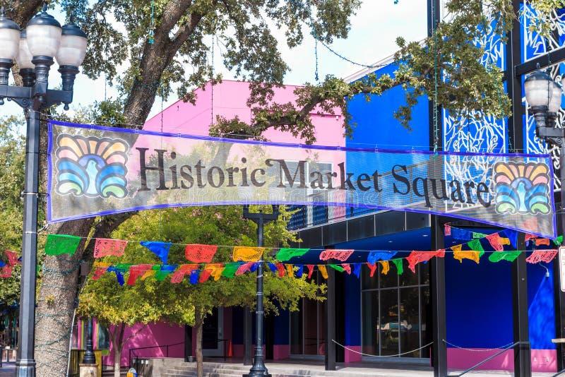 圣安东尼奥历史的集市广场  免版税库存照片