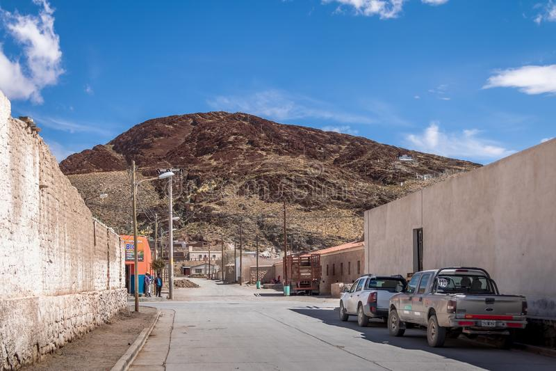 圣安东尼奥de los Cobres Town -圣安东尼奥de los Cobres,萨尔塔,阿根廷 图库摄影