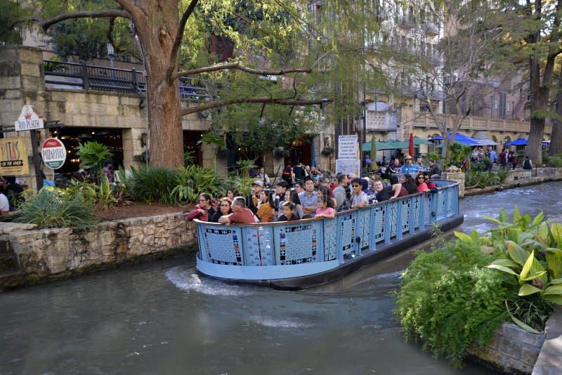 圣安东尼奥Riverwalk小船乘驾,圣安东尼奥,得克萨斯 免版税库存图片