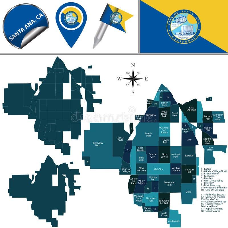 圣安娜,与区的加州地图  免版税库存图片