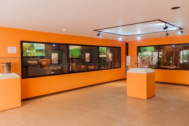 圣安德列斯,萨尔瓦多- 2016年4月6日:一个考古学博物馆的内部圣安德列斯废墟的 免版税库存图片