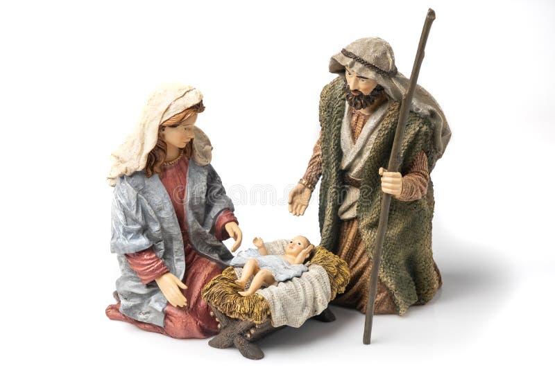 圣家:圣母玛利亚,圣约瑟夫,和婴儿耶稣陶像 库存图片