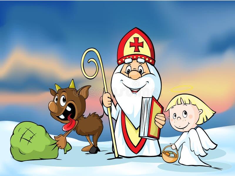 圣尼古拉、恶魔和天使-导航例证 在圣诞节季节期间他们是警告和惩罚坏的孩子 向量例证