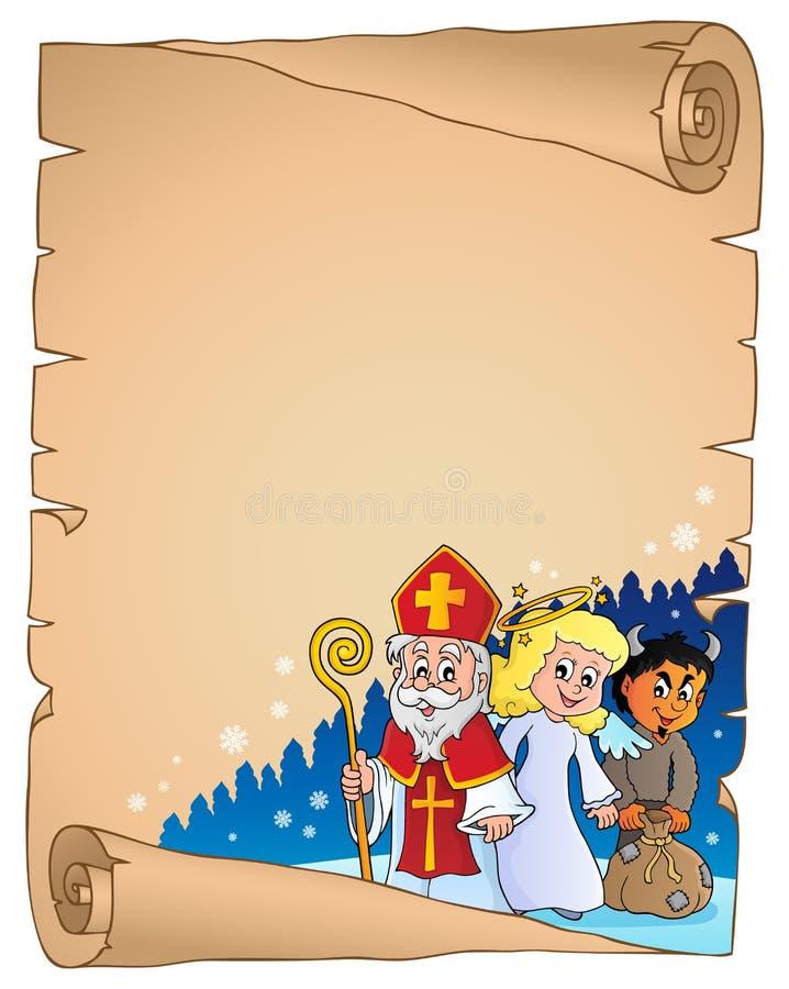 圣尼古拉天主题羊皮纸2 皇族释放例证