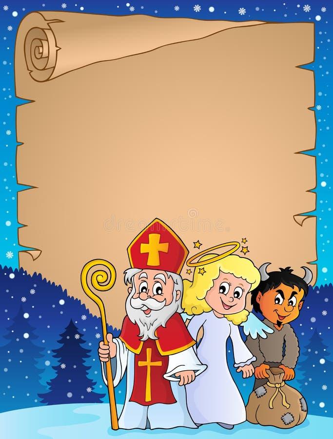 圣尼古拉天主题羊皮纸1 皇族释放例证