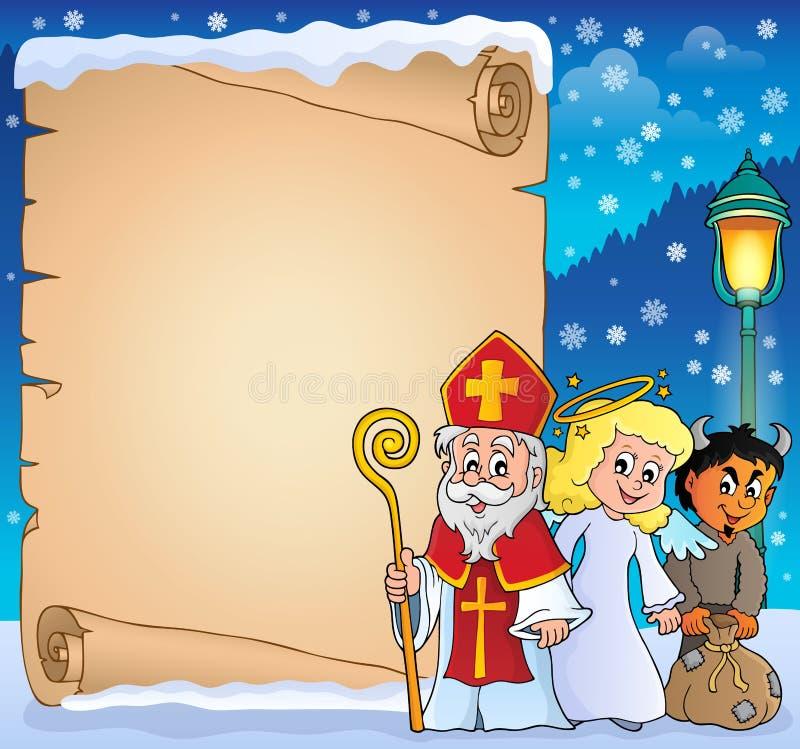 圣尼古拉天主题羊皮纸3 向量例证