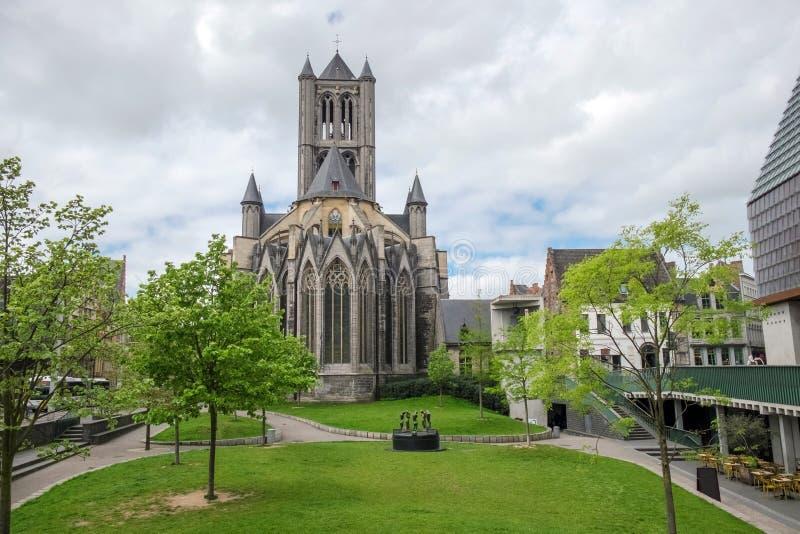 圣尼古拉教会在比利时 免版税库存图片