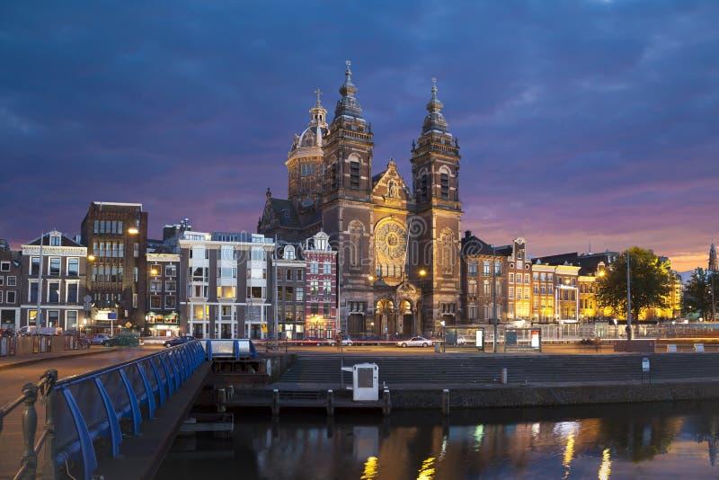 圣尼古拉教会在阿姆斯特丹 免版税库存照片