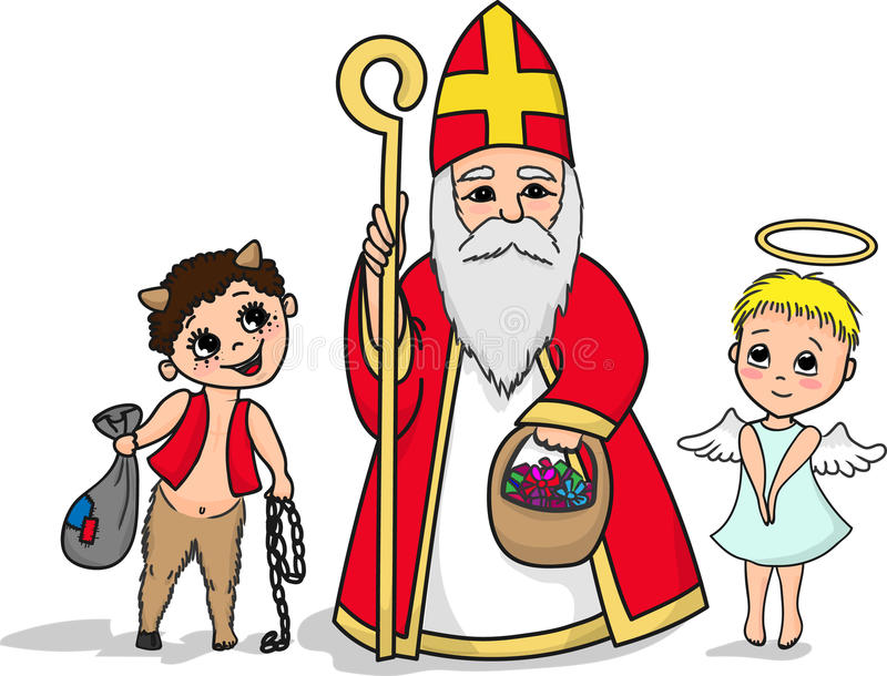 圣尼古拉斯、恶魔和一点天使字符 库存例证