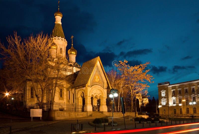 圣尼古拉斯俄国教会奇迹制造商在索非亚 免版税图库摄影