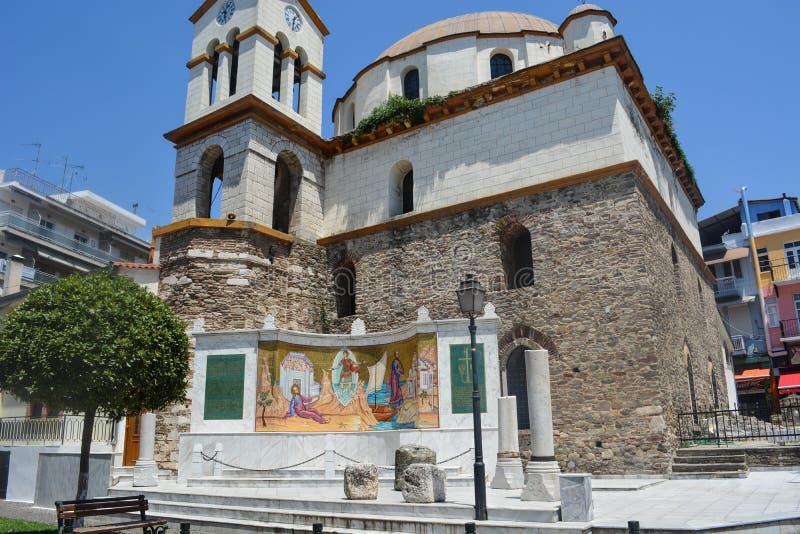 圣尼古拉斯基督教会在卡瓦拉,希腊 库存照片