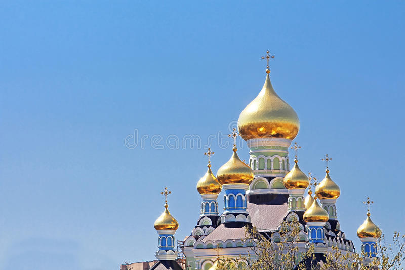 圣尼古拉斯大教堂在Pokrovsky修道院里在Kyiv,乌克兰 库存照片