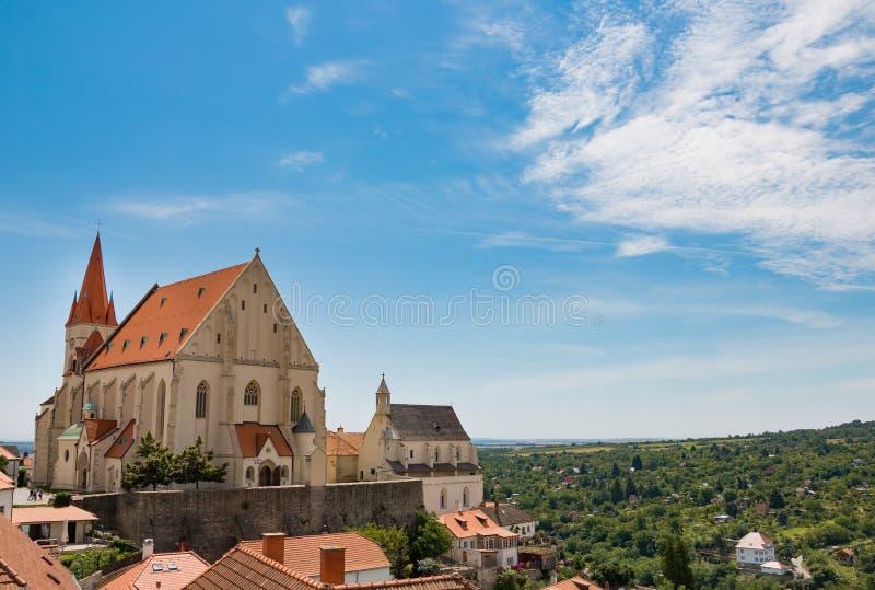 圣尼古拉斯大教堂在Znojmo,捷克 免版税库存图片