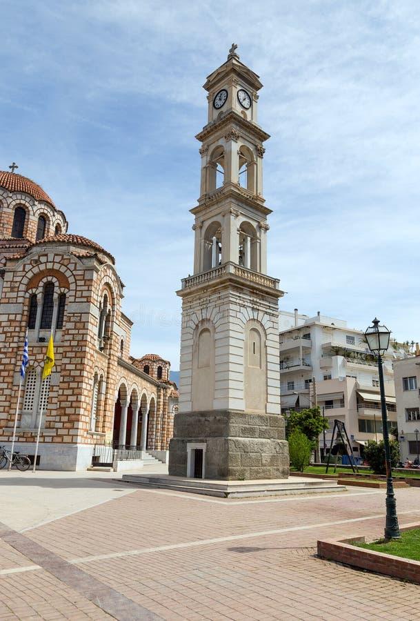 圣尼古拉斯大教堂,沃洛斯,希腊钟楼  库存图片