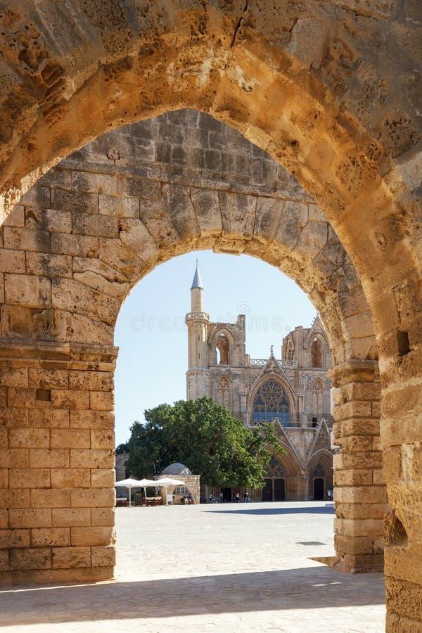 圣尼古拉斯大教堂(Lala穆斯塔法清真寺),法马古斯塔,北 免版税库存图片