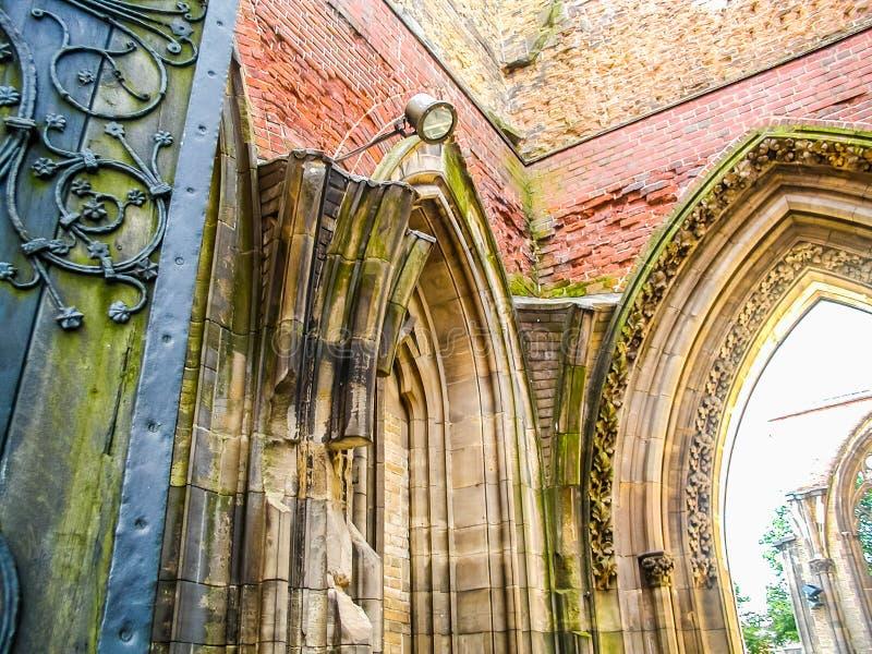 圣尼古拉斯废墟教会在汉堡hdr的 免版税图库摄影