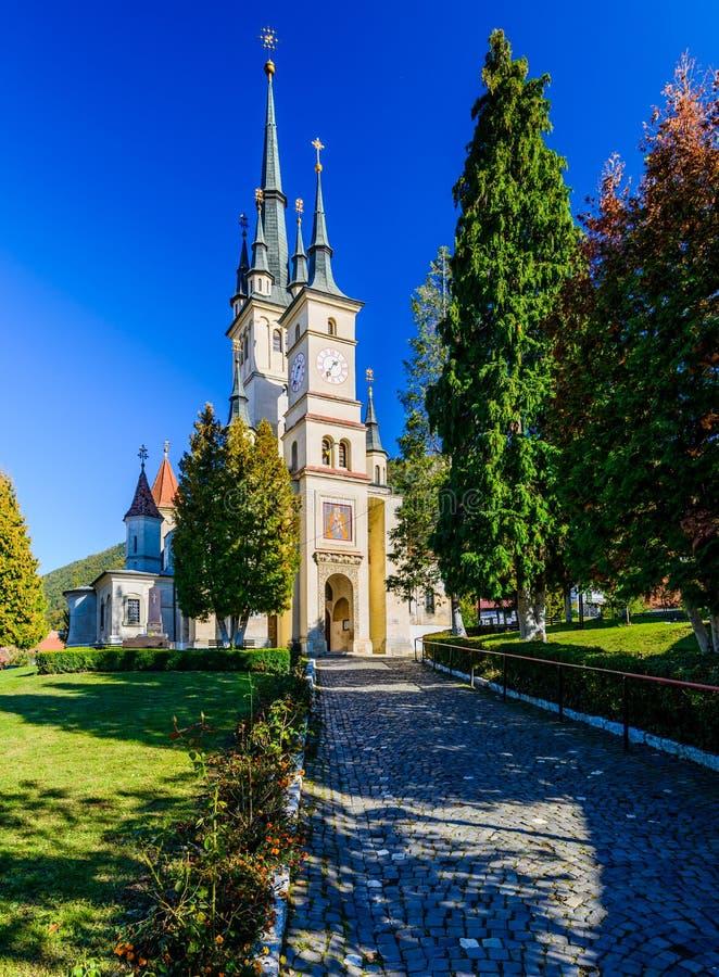 圣尼古拉斯教会在布拉索夫,罗马尼亚 库存照片