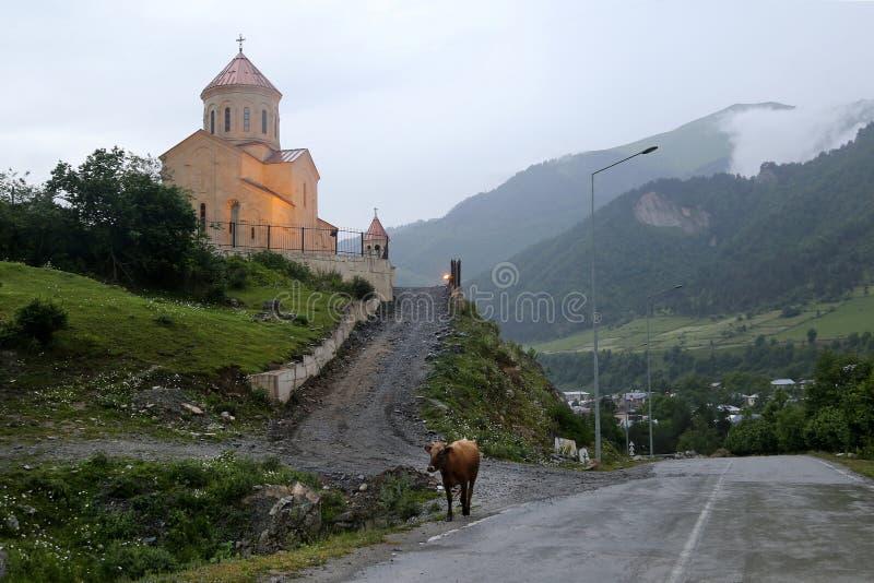 圣尼古拉斯教会的看法在Mestia村庄  图库摄影