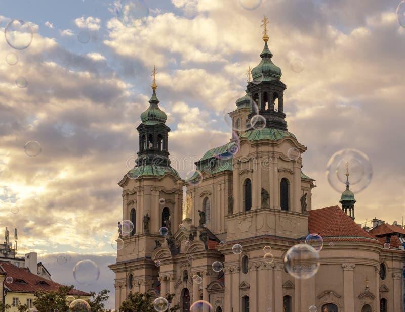 圣尼古拉斯教会,老城广场,布拉格,捷克 免版税图库摄影