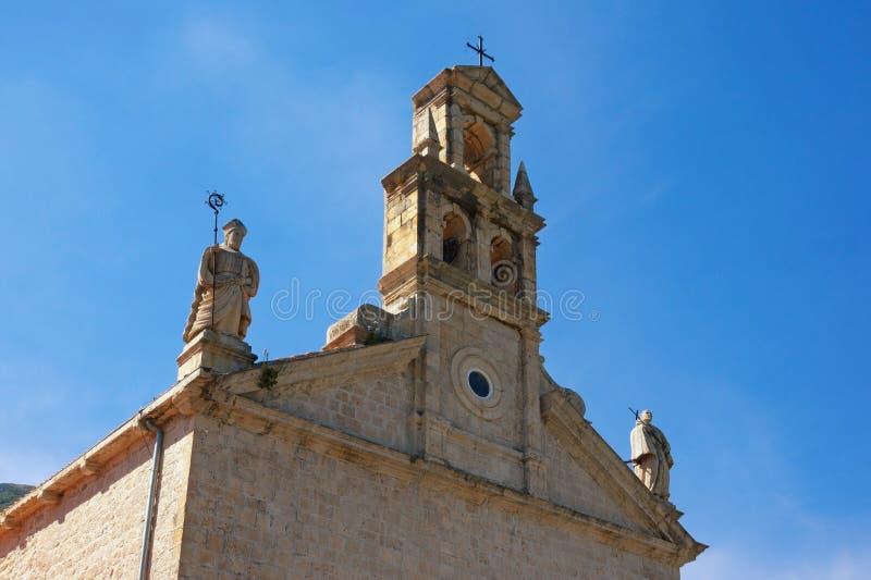 圣尼古拉斯方济会修道院教会看法在Prcanj镇,黑山 图库摄影