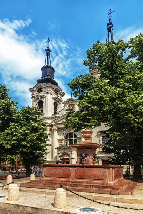 圣尼古拉斯正统大教堂在城市斯雷姆斯基卡尔洛夫奇n 免版税库存照片
