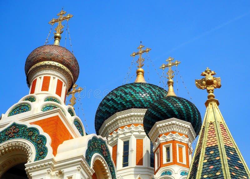 圣尼古拉斯正统大教堂,尼斯,天蓝色的海岸,法国 免版税图库摄影