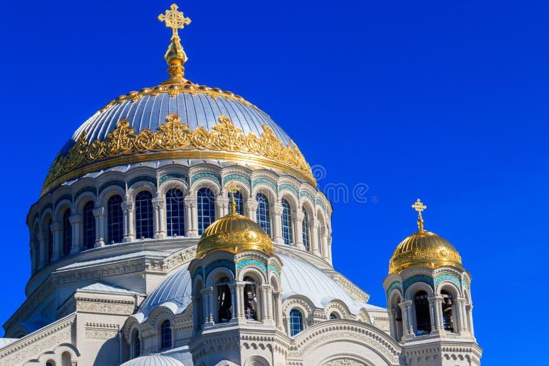 圣尼古拉斯正统海军大教堂在喀琅施塔得 免版税库存照片