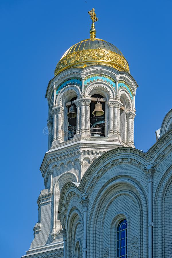 圣尼古拉斯正统海军大教堂在Kronstadt,在Sain附近 免版税图库摄影