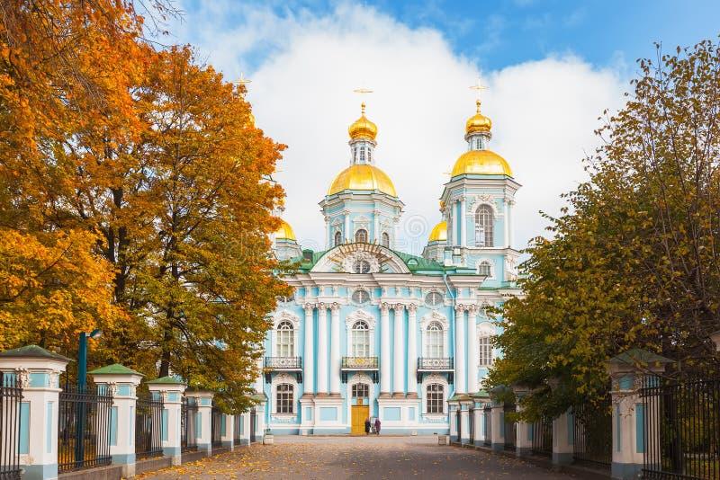 圣尼古拉斯海军大教堂在圣彼得堡,俄罗斯 免版税库存照片