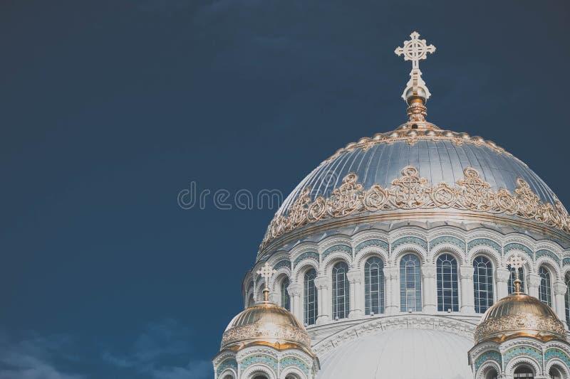 圣尼古拉斯海军大教堂在Kronstadt,圣彼得堡,俄罗斯 库存照片
